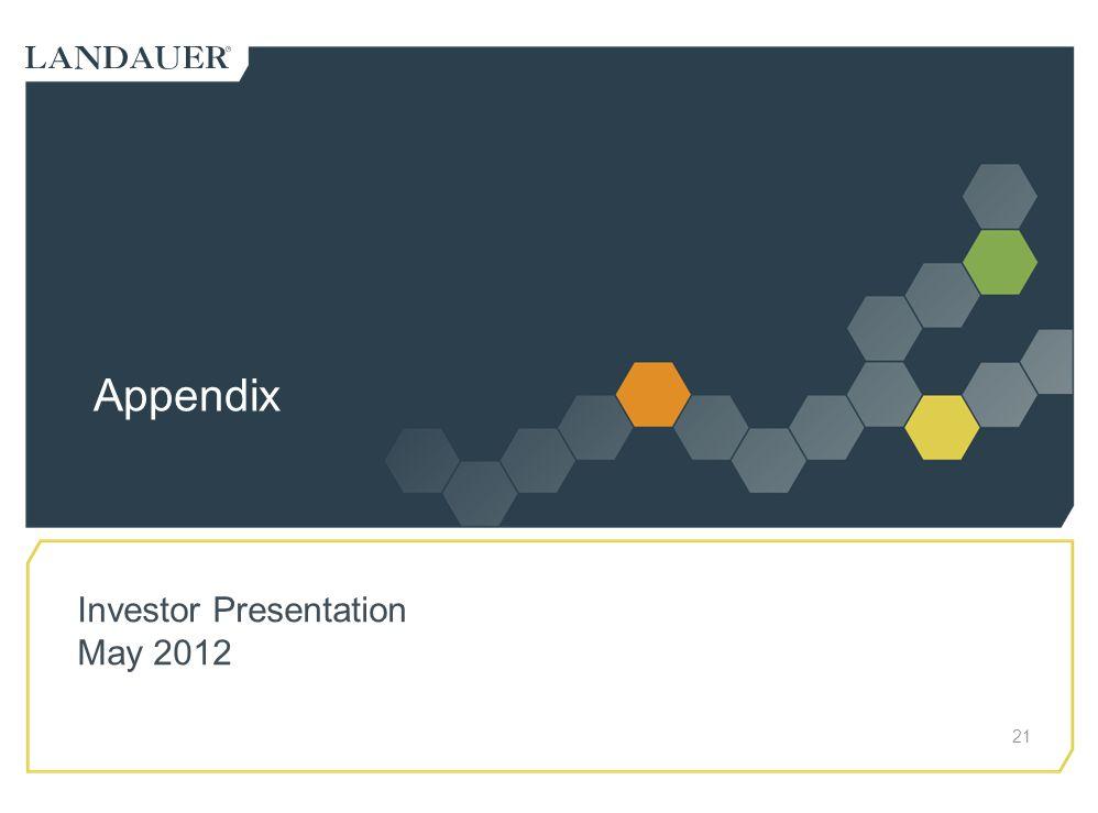 Appendix Investor Presentation May 2012
