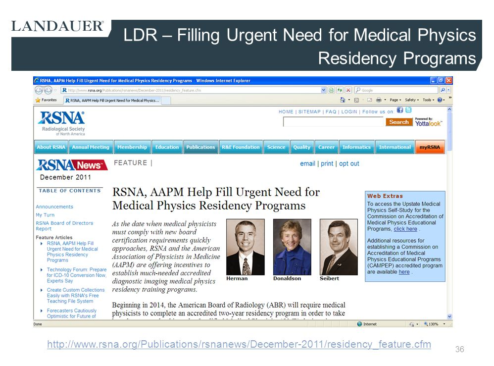 LDR – Filling Urgent Need for Medical Physics Residency Programs
