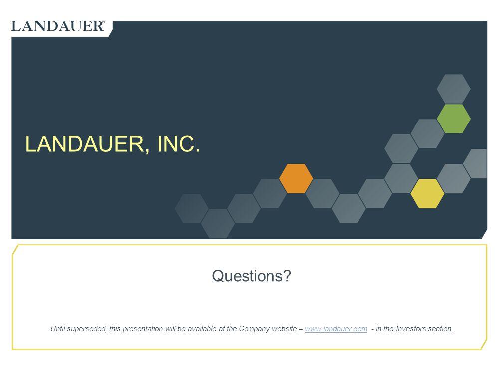 LANDAUER, INC. Questions