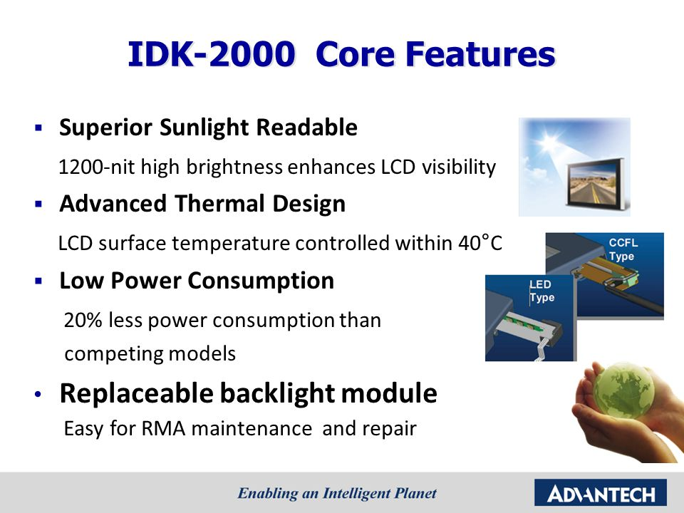 IDK-2000 Core Features Replaceable backlight module