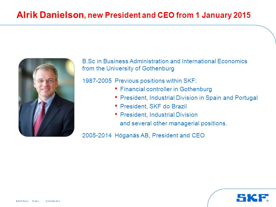 Alrik Danielson, new President and CEO from 1 January 2015
