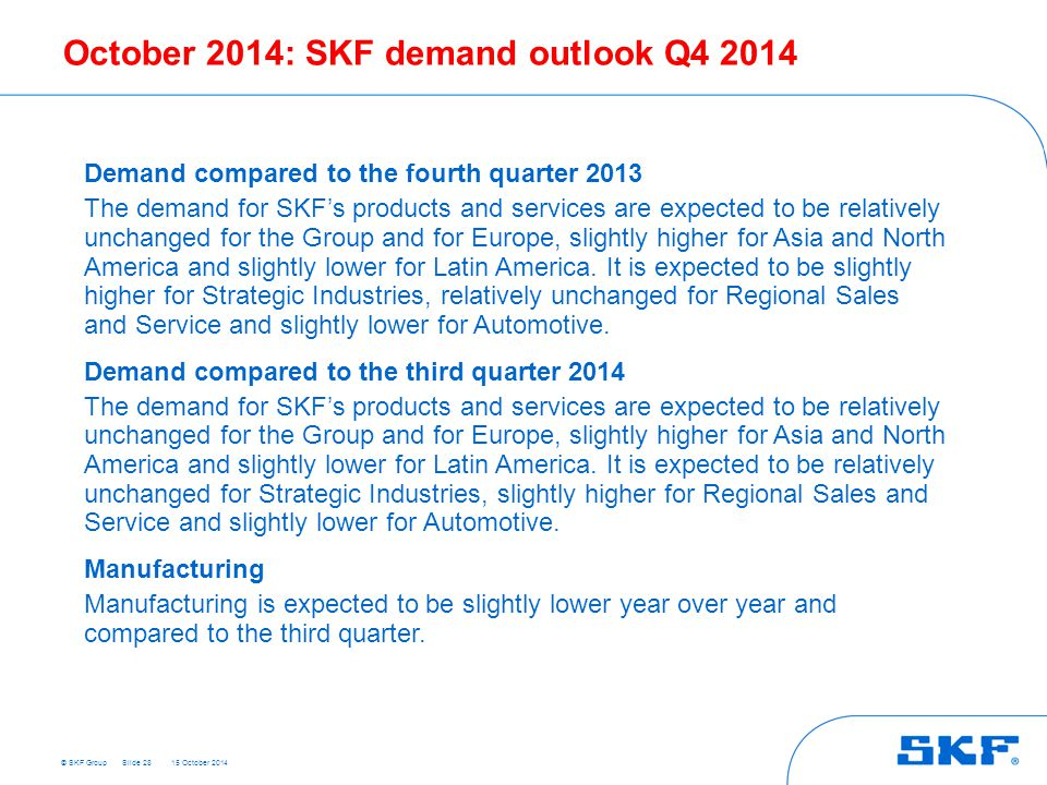 October 2014: SKF demand outlook Q4 2014