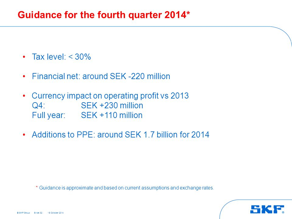 Guidance for the fourth quarter 2014*