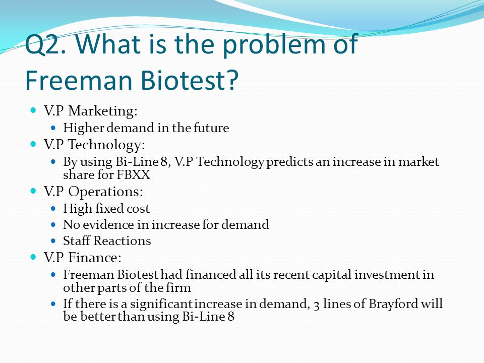 Q2. What is the problem of Freeman Biotest