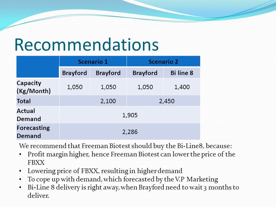 Recommendations Scenario 1 Scenario 2 Brayford Bi line 8