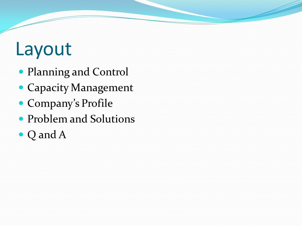 Layout Planning and Control Capacity Management Company's Profile