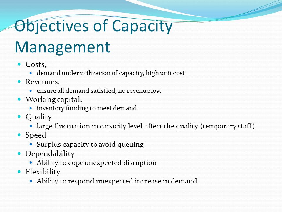 Objectives of Capacity Management