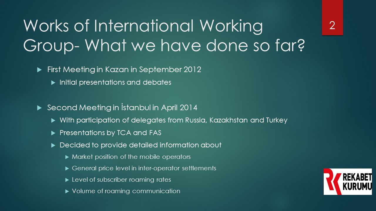 Works of International Working Group- What we have done so far