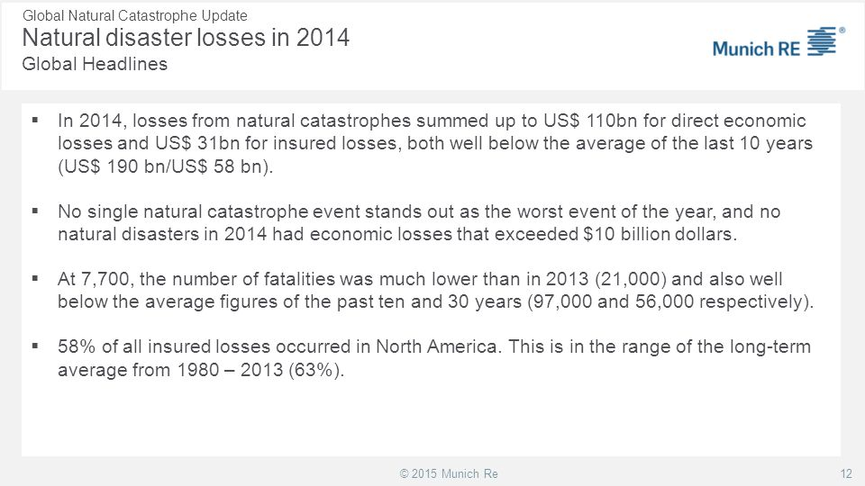 Natural disaster losses in 2014 Global Headlines