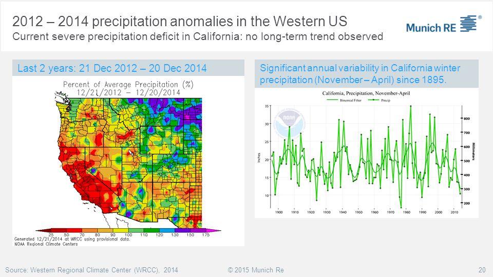 2012 – 2014 precipitation anomalies in the Western US