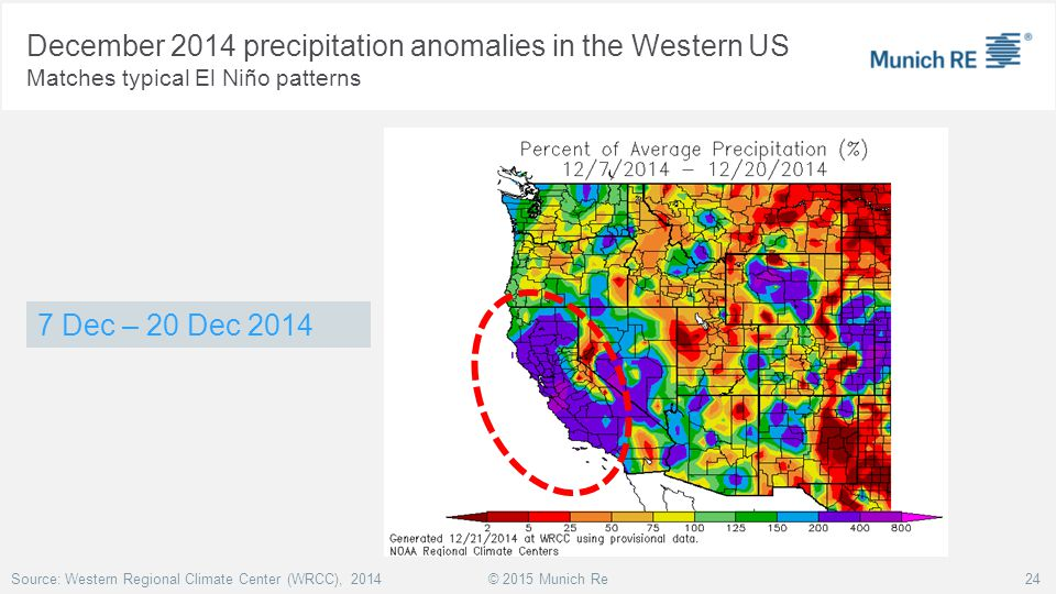 December 2014 precipitation anomalies in the Western US