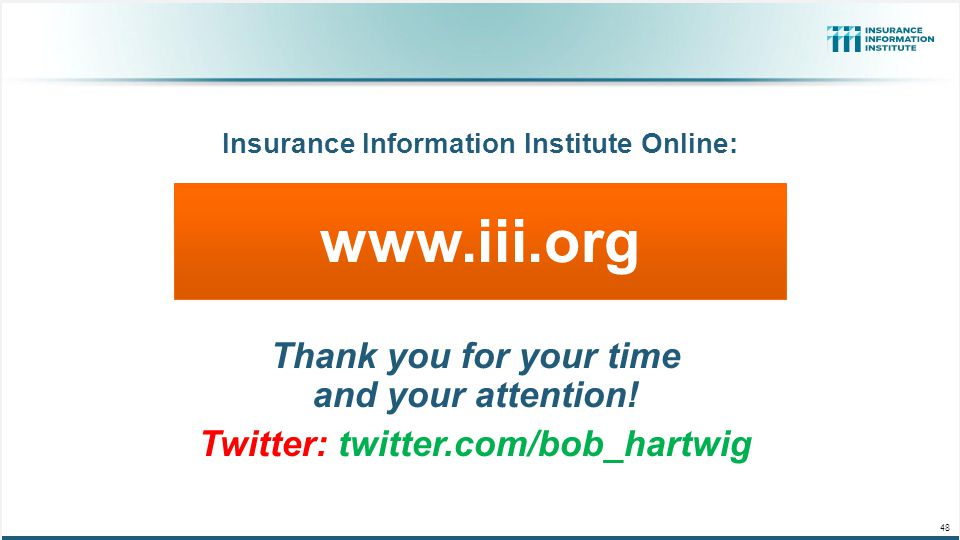www.iii.org Thank you for your time and your attention!