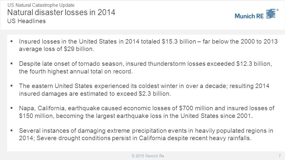 Natural disaster losses in 2014 US Headlines