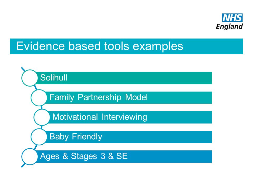 Evidence based tools examples