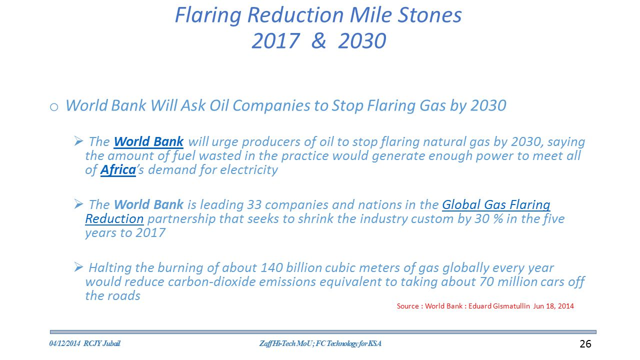 Flaring Reduction Mile Stones 2017 & 2030