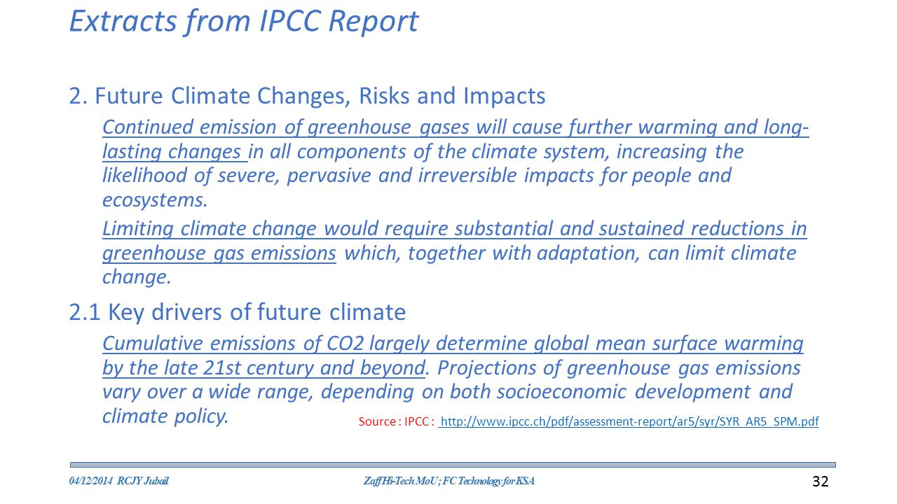 Extracts from IPCC Report