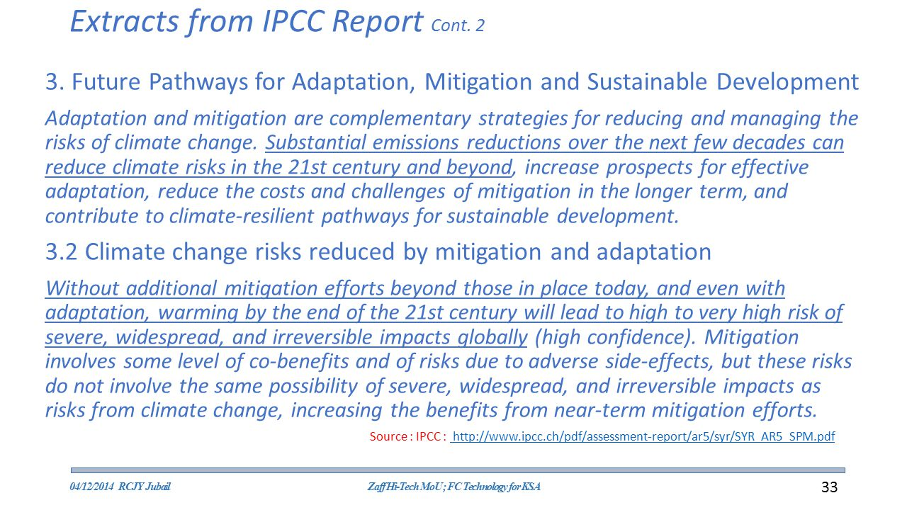 Extracts from IPCC Report Cont. 2