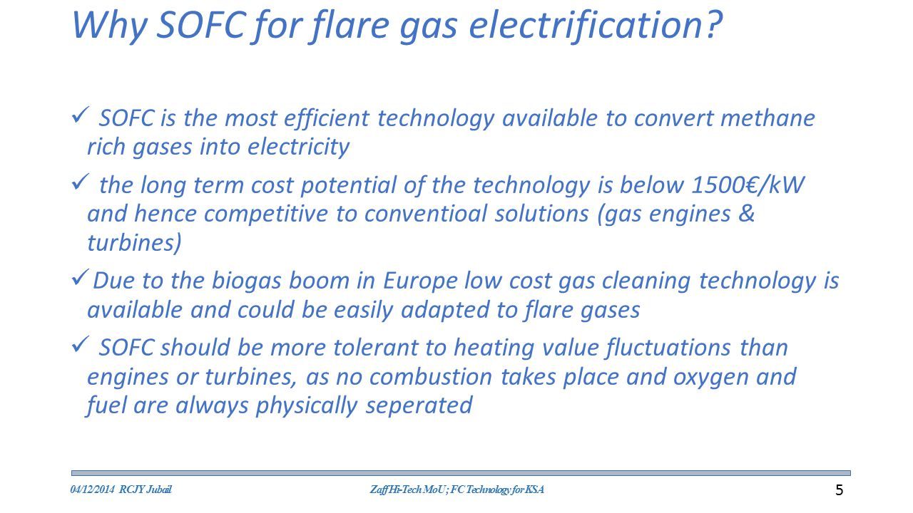 Why SOFC for flare gas electrification