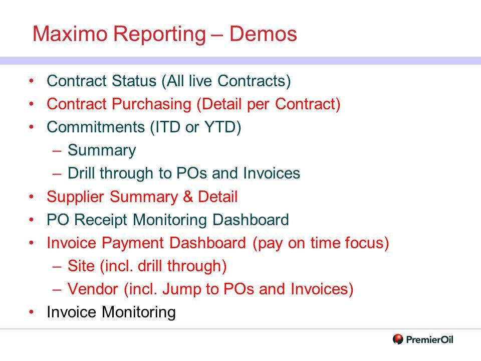 Maximo Reporting – Demos