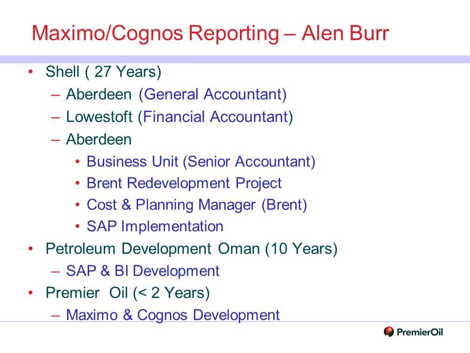 Maximo/Cognos Reporting – Alen Burr