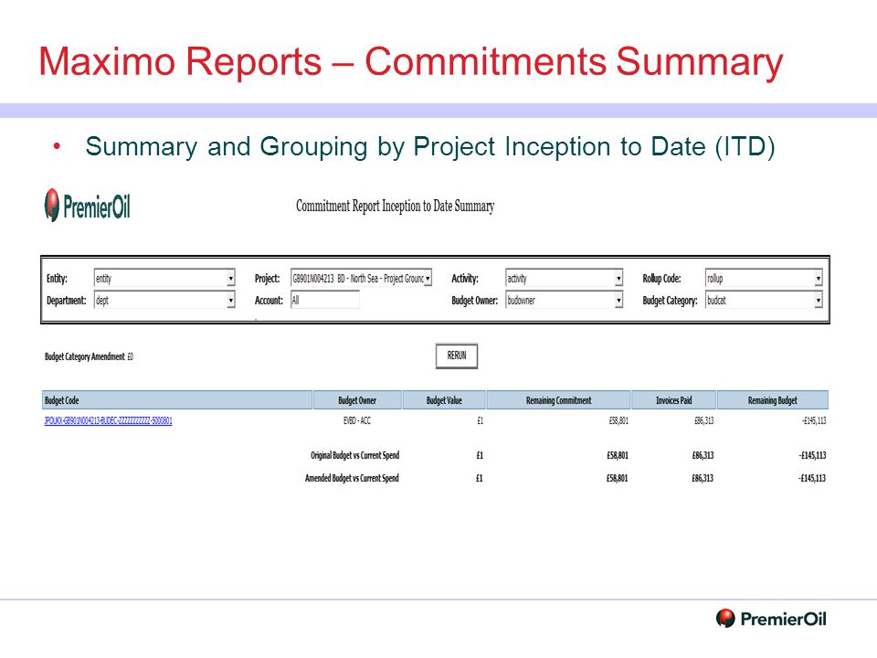 Maximo Reports – Commitments Summary
