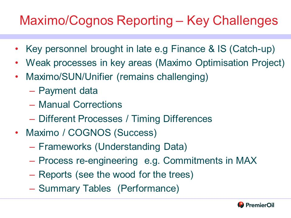 Maximo/Cognos Reporting – Key Challenges