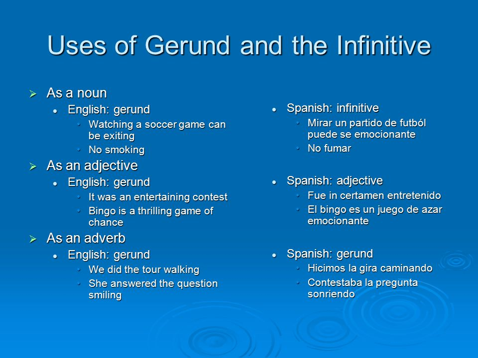 Uses of Gerund and the Infinitive