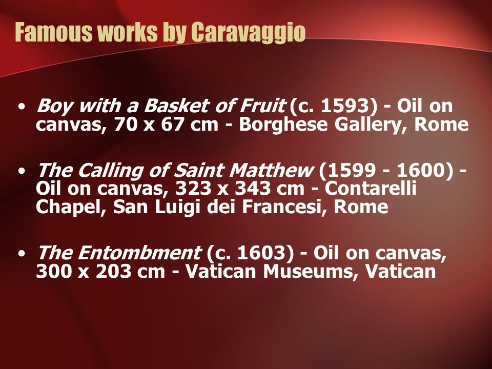 Famous works by Caravaggio