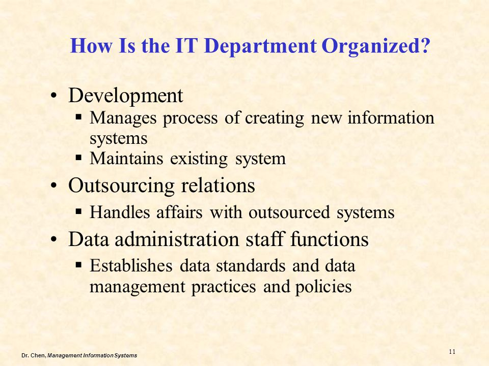 How Is the IT Department Organized