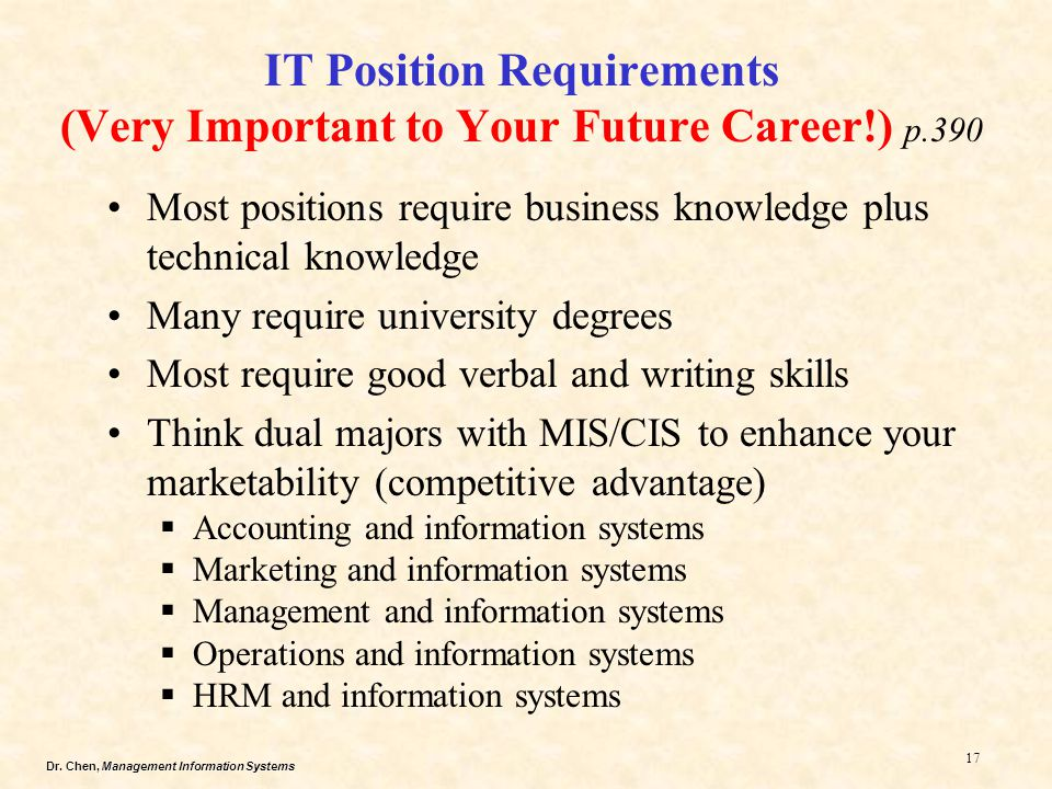 IT Position Requirements (Very Important to Your Future Career!) p.390