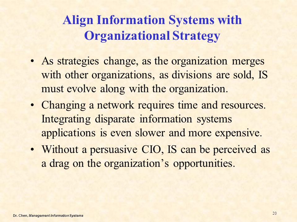 Align Information Systems with Organizational Strategy