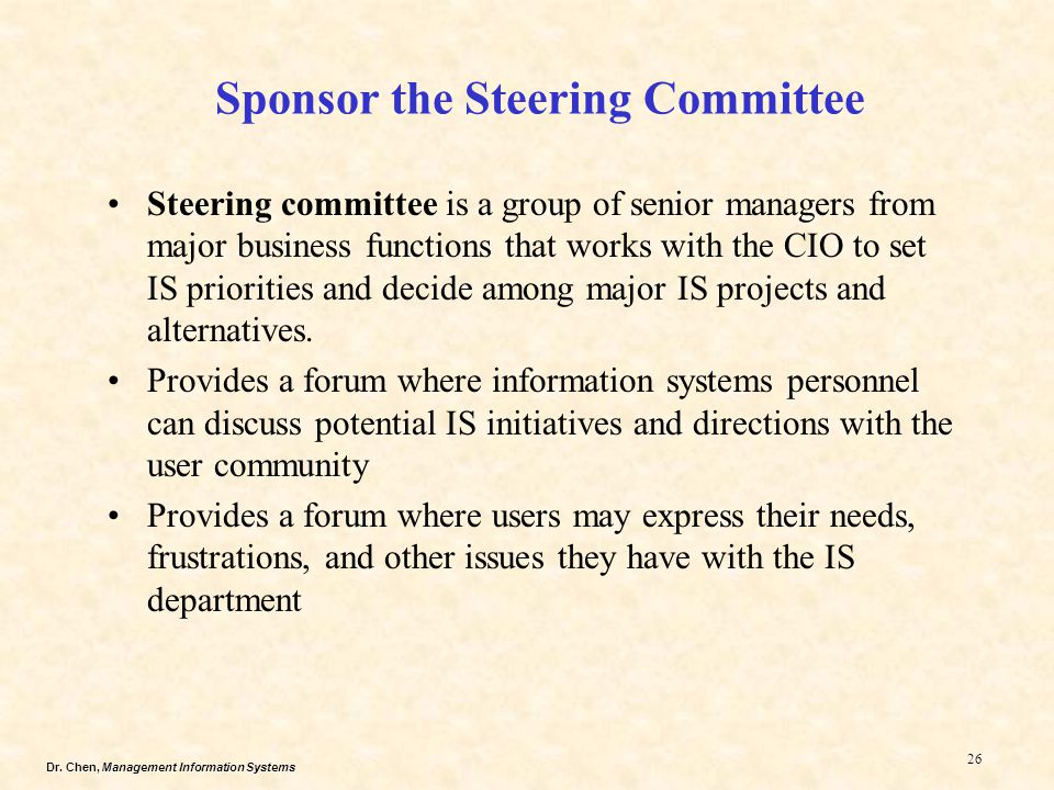 Sponsor the Steering Committee