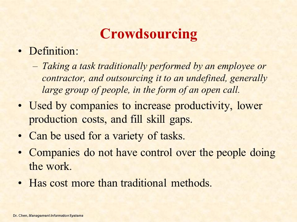 Crowdsourcing Definition: