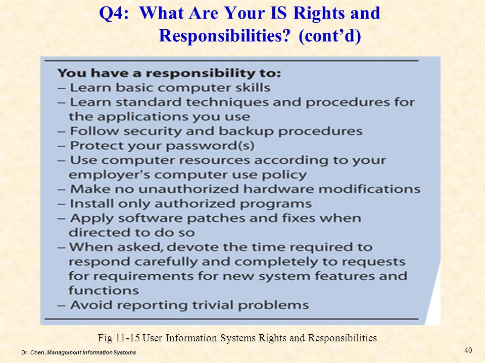 Q4: What Are Your IS Rights and Responsibilities (cont'd)