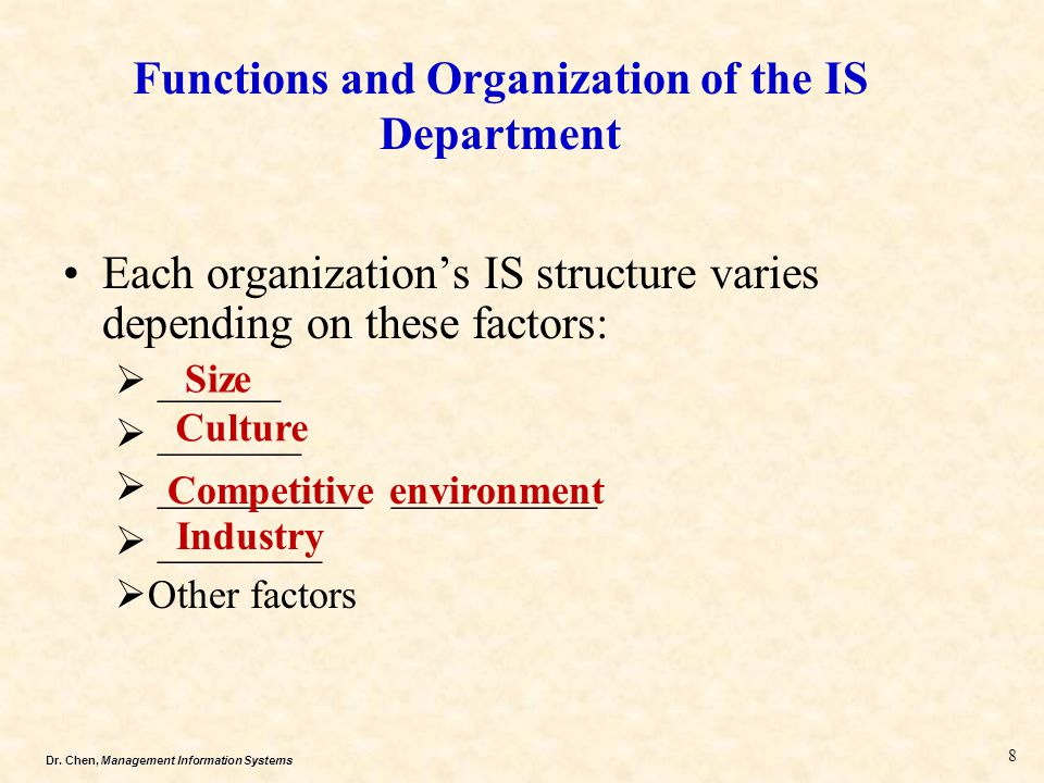 Functions and Organization of the IS Department