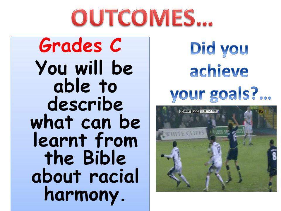 OUTCOMES… Did you achieve Grades C