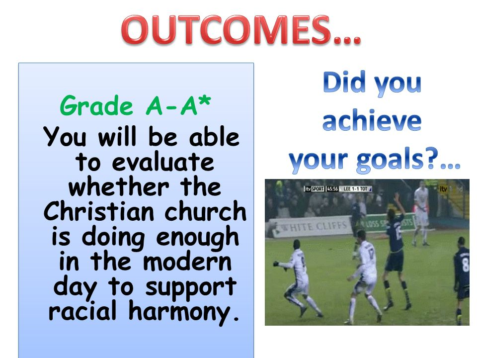 OUTCOMES… Did you achieve your goals … Grade A-A*