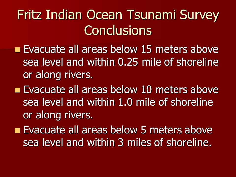 Fritz Indian Ocean Tsunami Survey Conclusions