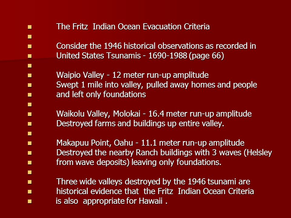 The Fritz Indian Ocean Evacuation Criteria