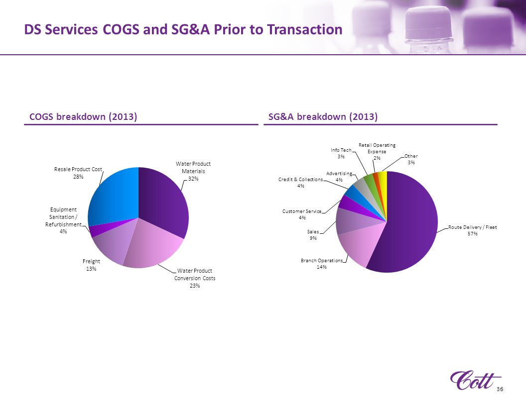 DS Services COGS and SG&A Prior to Transaction