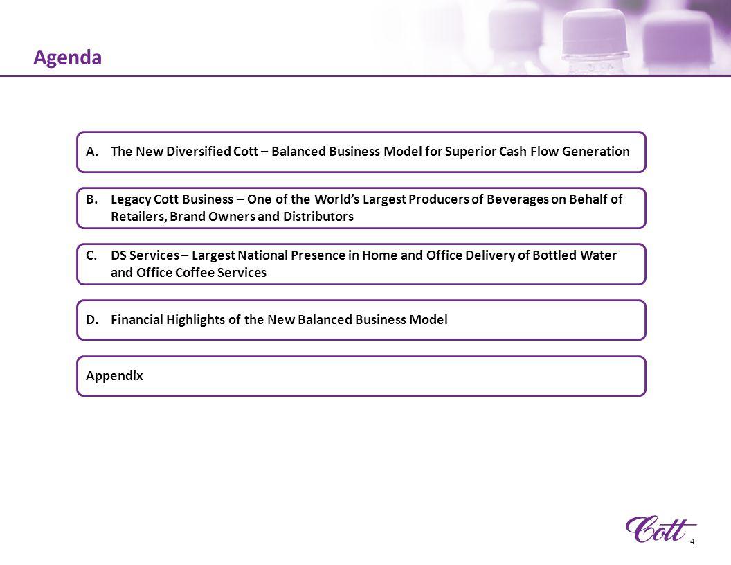 4/11/2017 7:27 AM Agenda. The New Diversified Cott – Balanced Business Model for Superior Cash Flow Generation.