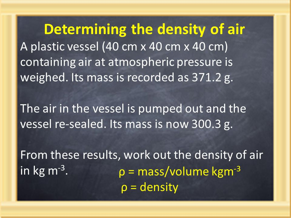 Determining the density of air