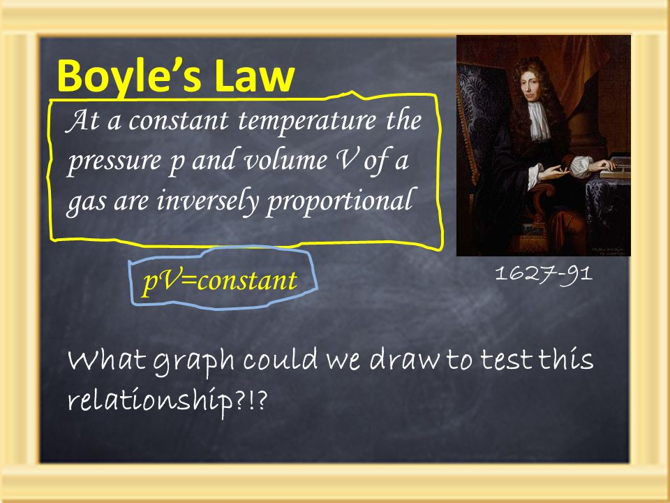 Boyle's Law At a constant temperature the pressure p and volume V of a gas are inversely proportional.