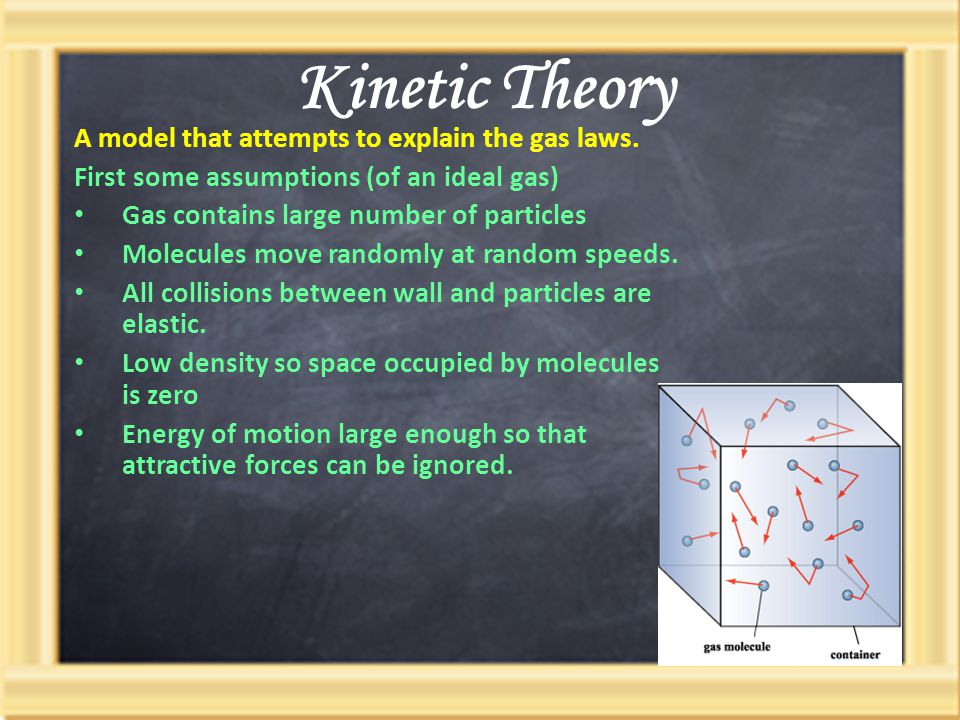 Kinetic Theory A model that attempts to explain the gas laws.