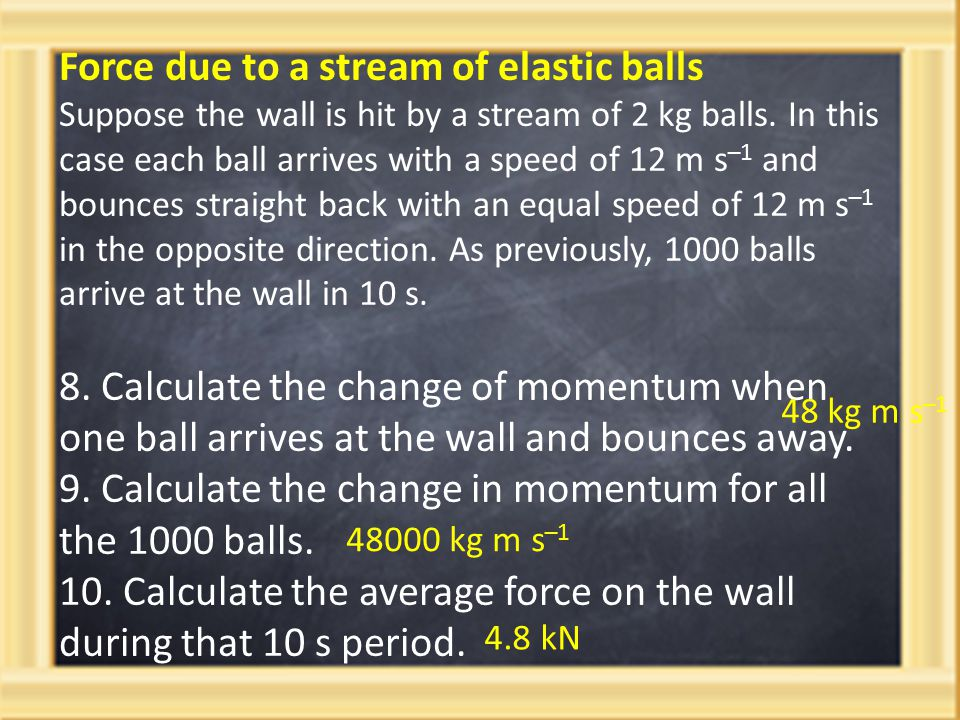 Force due to a stream of elastic balls