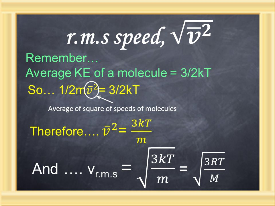 Average of square of speeds of molecules