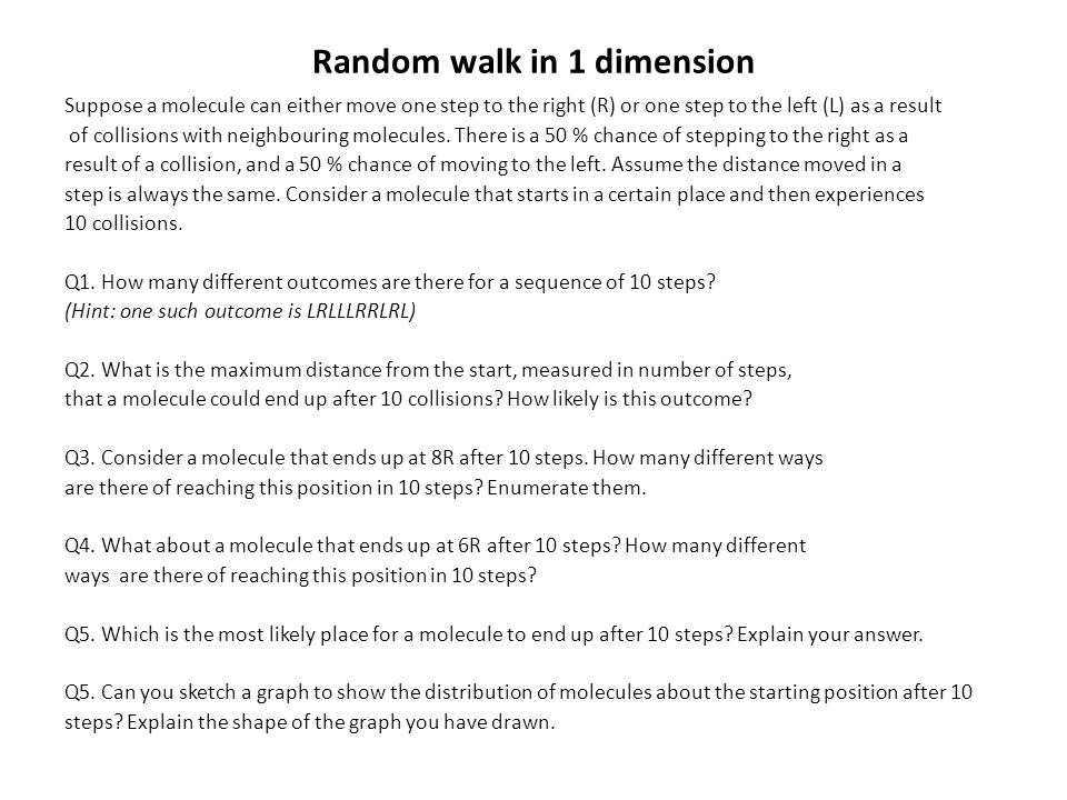 Random walk in 1 dimension