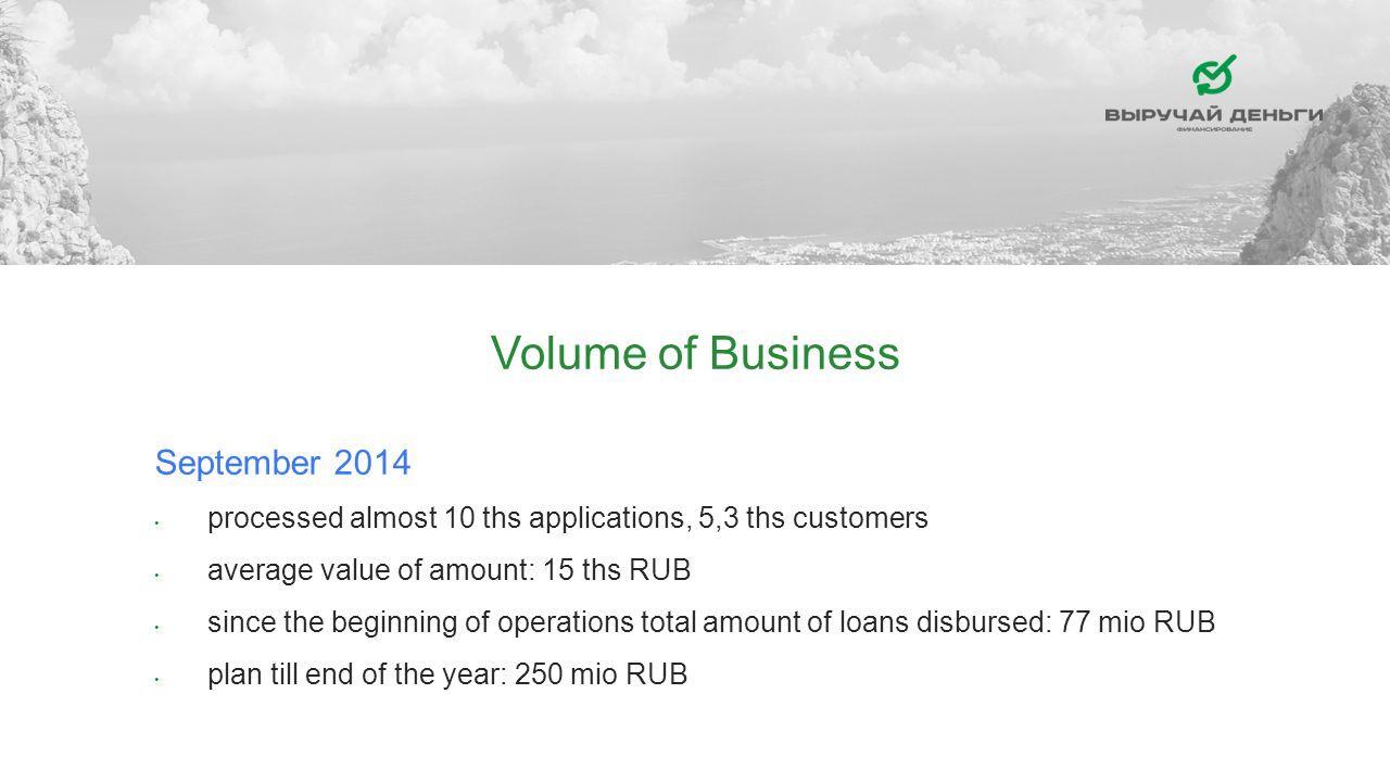 Volume of Business September 2014