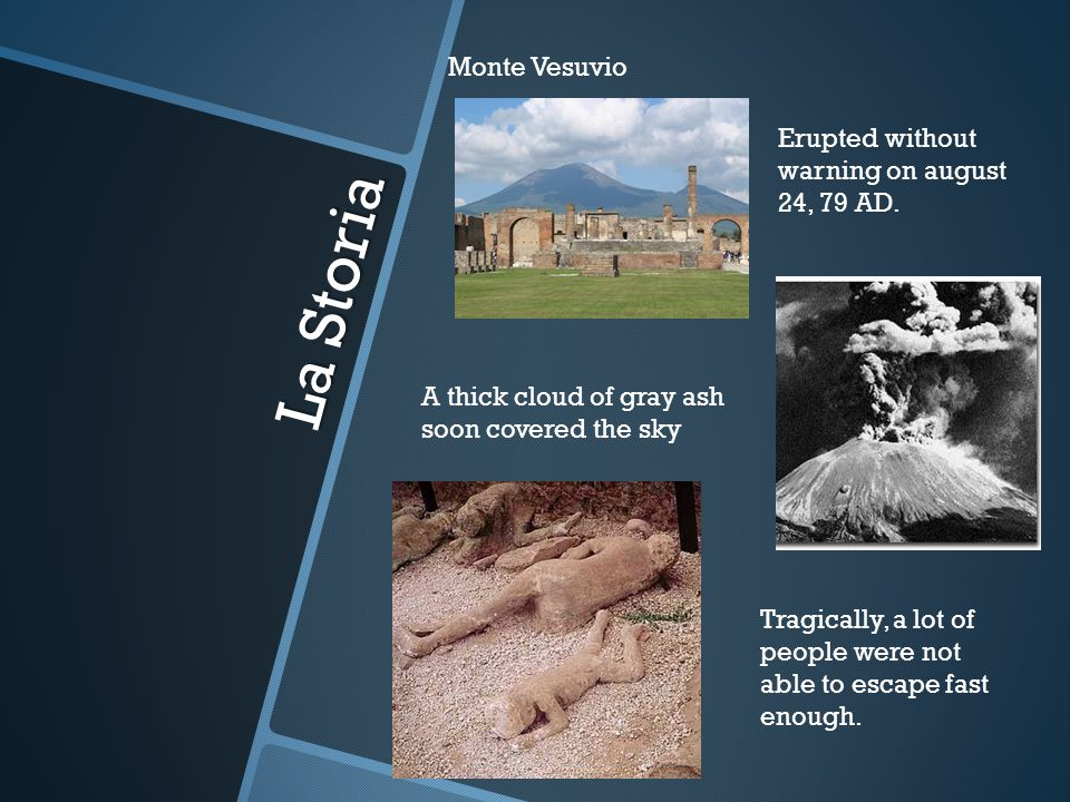 La Storia Monte Vesuvio Erupted without warning on august 24, 79 AD.