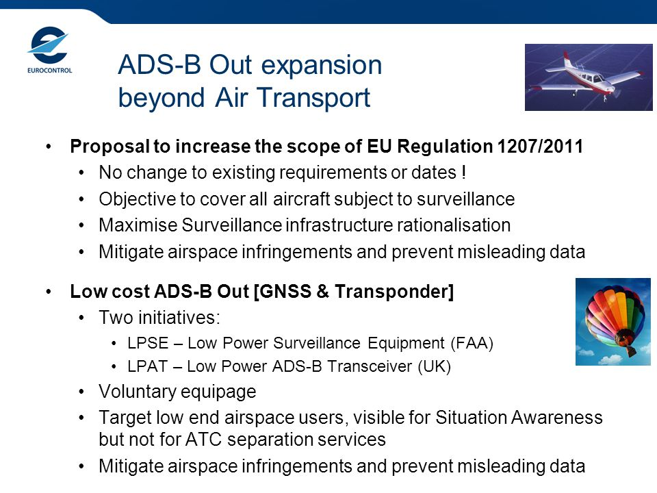 ADS-B Out expansion beyond Air Transport